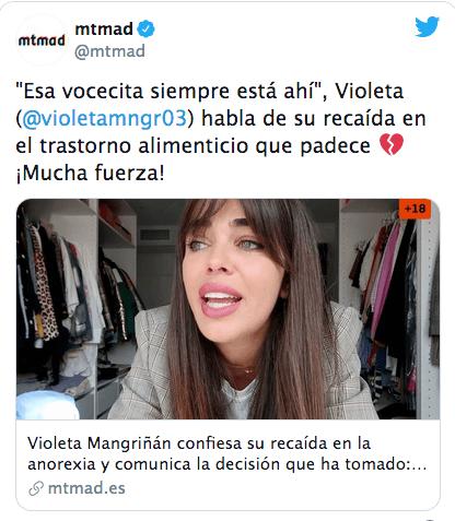 Violeta Mangriñán confiesa su recaída en la anorexia