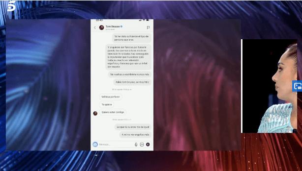 Mensajes entre Melyssa y Tom